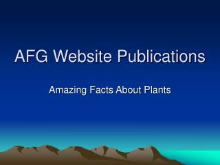 AFG Website Publications