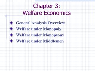 Chapter 3:  Welfare Economics