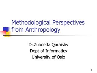 Methodological Perspectives from Anthropology