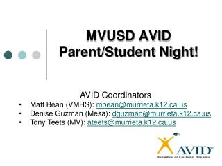 MVUSD AVID  Parent/Student Night!