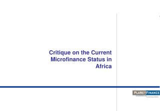 Critique on the Current Microfinance Status in Africa