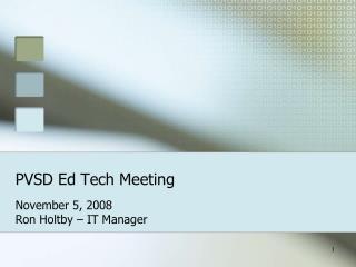 PVSD Ed Tech Meeting