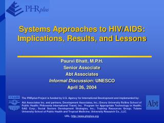 Systems Approaches to HIV/AIDS:  Implications, Results, and Lessons
