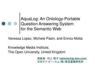 AquaLog: An Ontology-Portable  Question Answering System  for the Semantic Web