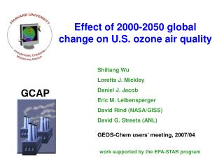 Effect of 2000-2050 global change on U.S. ozone air quality