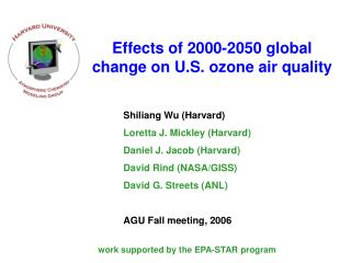 Effects of 2000-2050 global change on U.S. ozone air quality