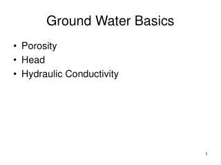Ground Water Basics