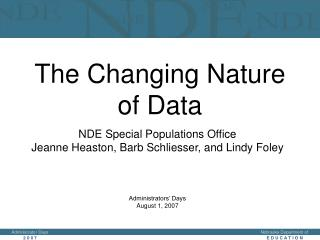 The Changing Nature of Special Education Data