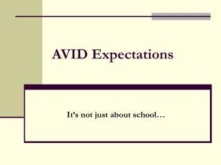 AVID Expectations