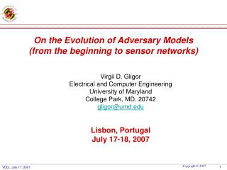 On the Evolution of Adversary Models (from the beginning to sensor networks)