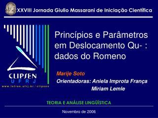 Princípios e Parâmetros em Deslocamento Qu- : dados do Romeno