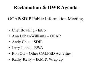 OCAP/SDIP Public Information Meeting