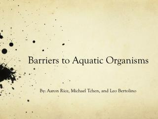 Barriers to Aquatic Organisms