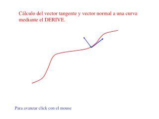 Cálculo del vector tangente y vector normal a una curva mediante el DERIVE.