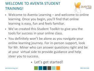 WELCOME TO AVENTA STUDENT TRAINING!