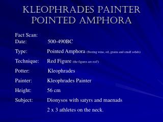 Kleophrades Painter Pointed Amphora
