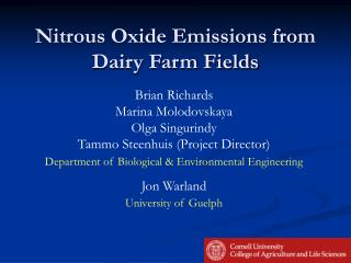 Nitrous Oxide Emissions from Dairy Farm Fields