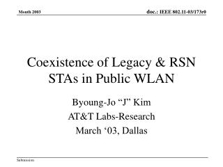Coexistence of Legacy & RSN STAs in Public WLAN
