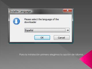 Para la instalación primero elegimos la opción de idioma.