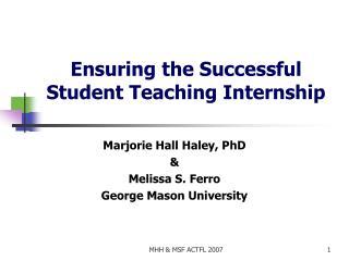 Ensuring the Successful Student Teaching Internship