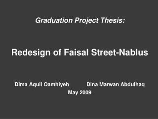 Graduation Project Thesis: Redesign of Faisal Street-Nablus
