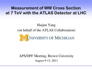 Measurement of WW  Cross Section  at 7 TeV with the ATLAS Detector at LHC