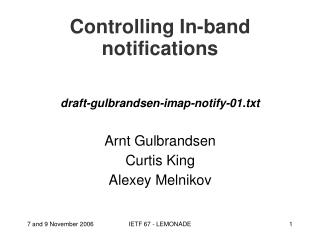 Controlling In-band notifications