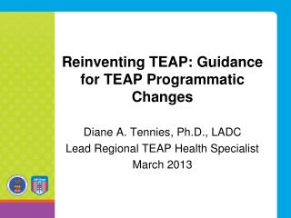 Reinventing TEAP: Guidance for TEAP Programmatic Changes
