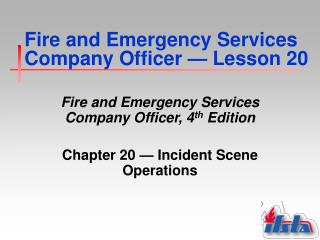 Fire and Emergency Services Company Officer  �  Lesson 20