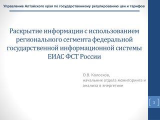 О.В. Колосков,  начальник отдела мониторинга и анализа в энергетике