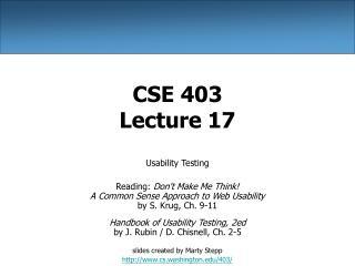 CSE 403 Lecture 17