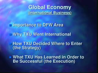 Global Economy (International Business)