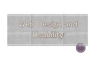 Web Design and Usability