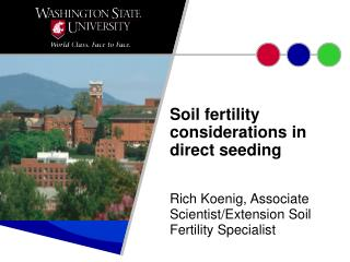 Soil fertility considerations in direct seeding
