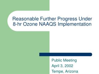 Reasonable Further Progress Under 8-hr Ozone NAAQS Implementation