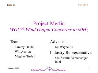 Project Merlin WOC 60 :Wind Output Converter to 60Hz