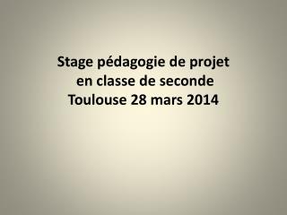 Stage pédagogie de projet  en classe de seconde  Toulouse 28 mars 2014