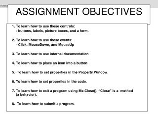 ASSIGNMENT OBJECTIVES
