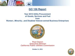GO 156 Report Year 2010 Utility Procurement  of Goods, Services and Fuel  from