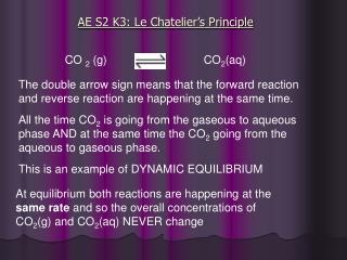AE S2 K3: Le Chatelier's Principle