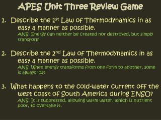 APES Unit Three Review Game