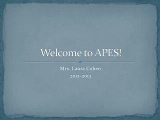 Welcome to  APES !