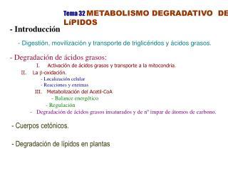 Tema 32 METABOLISMO DEGRADATIVO  DE LíPIDOS