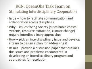RCN:  OceanObs  Task Team on Stimulating Interdisciplinary Cooperation