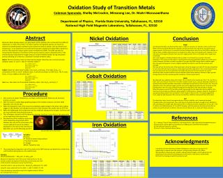 Oxidation Study of Transition Metals