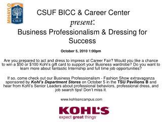 CSUF BICC & Career Center present : Business Professionalism & Dressing for Success