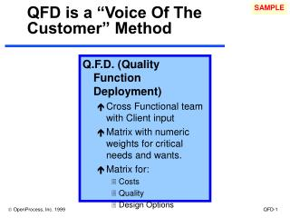 "QFD is a ""Voice Of The Customer"" Method"