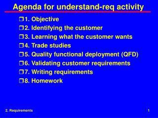 Agenda for understand-req activity