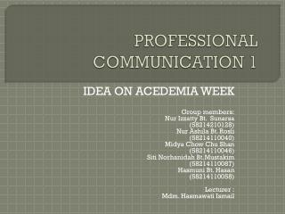 PROFESSIONAL COMMUNICATION 1