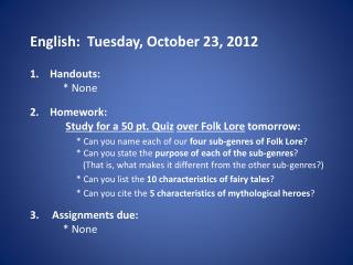 English:  Tuesday, October 23, 2012